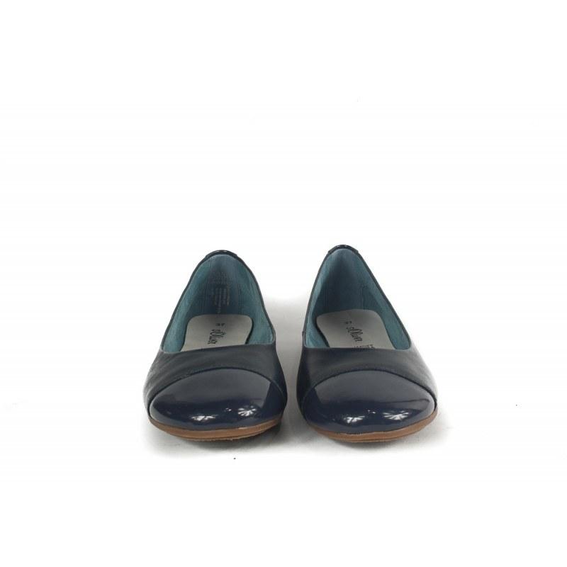 Дамски кожени обувки балерини S.Oliver сини 22110891