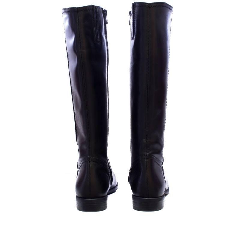 Дамски кожени ботуши на равно ходило Tamaris черни 25596001 XS