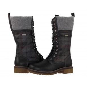 Дамски кожени ботуши с връзки Tamaris черни Duo-Tex®