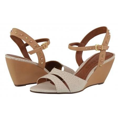 Дамски сандали на платформа Carrano бежови естествена кожа