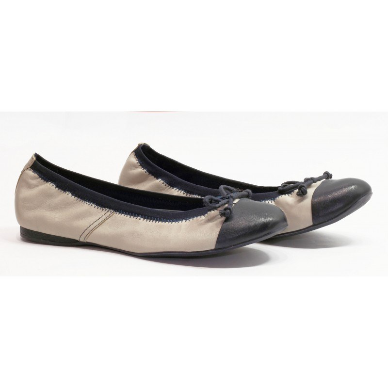 Дамски кожени обувки балерина  Tamaris off white/сини мемори пяна