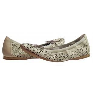 Дамски кожени обувки балерина  Tamaris off white мемори пяна