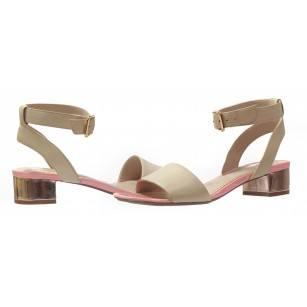Дамски сандали с нисък ток Clarks Sharna Balcony естествена кожа бежови/розови