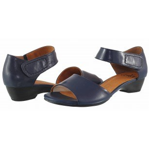 Дамски кожени сандали с нисък ток Caprice сини