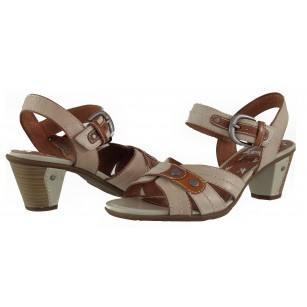 Дамски сандали на ток естествена кожа Jana Be Natural бежови