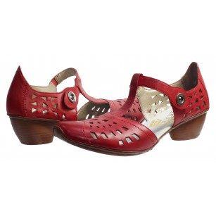 Дамски кожени обувки на нисък ток Rieker бордо
