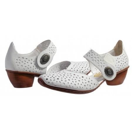 Дамски кожени летни обувки на ток Rieker бели