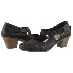 Дамски летни обувки на ток Rieker естествена кожа черни