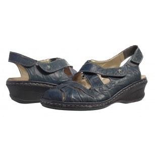 Дамски обувки на платформа естествена кожа Rieker ANTISTRESS сини