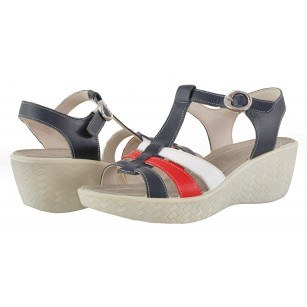 Дамски сандали на платформа естествена кожа Salamander сини/червени/бели