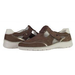 Дамски отворени обувки Ara естествена кожа  кафяви ширина Н