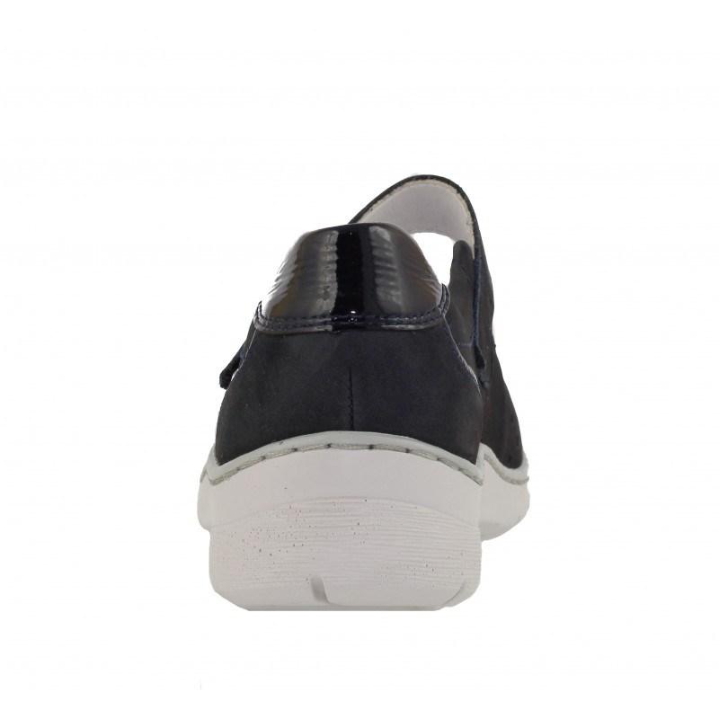 Дамски обувки на платформа с велкро лента естествена кожа Ara ширина H черни