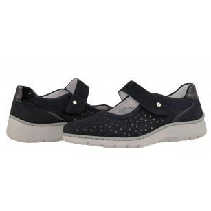 Дамски обувки на платформа с велкро лента естествена кожа Ara ширина H сини