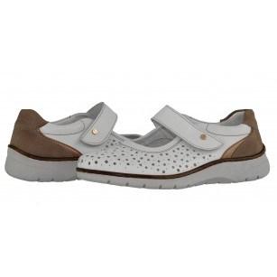 Дамски обувки на платформа с велкро лента естествена кожа Ara ширина H бели