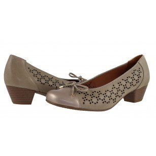 Дамски кожени обувки на ток Ara бежови ширина H