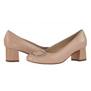 Дамски обувки на среден ток Ara естествена кожа бежов лак