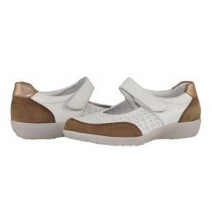 Дамски обувки на платформа с велкро лента естествена кожа Ara ширина K бели