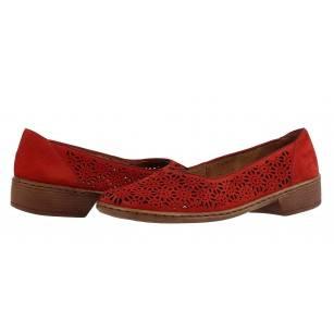 Дамски обувки на нисък ток естествена кожа Jenny by Ara червени ширина H