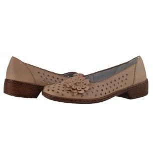 Дамски обувки на нисък ток естествена кожа Jenny by Ara бежови ширина H