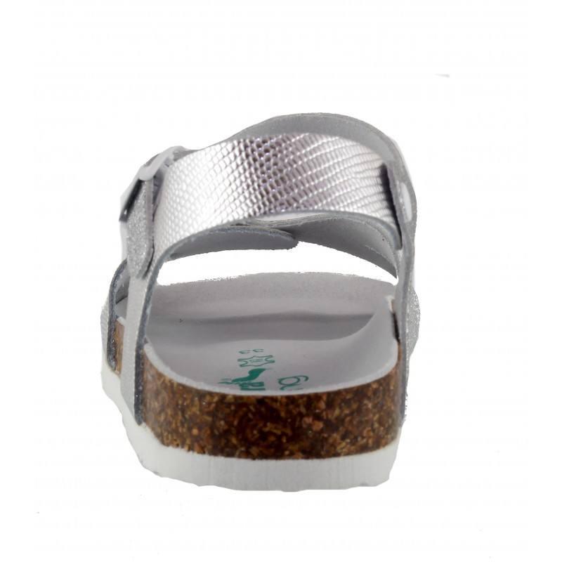 Детски ортопедични сандали за момиче BioNatura сребристи естествена кожа