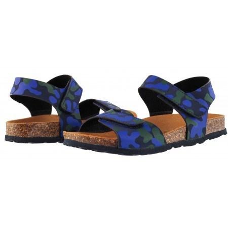 Детски ортопедични сандали за момче BioNatura сини камуфлаж