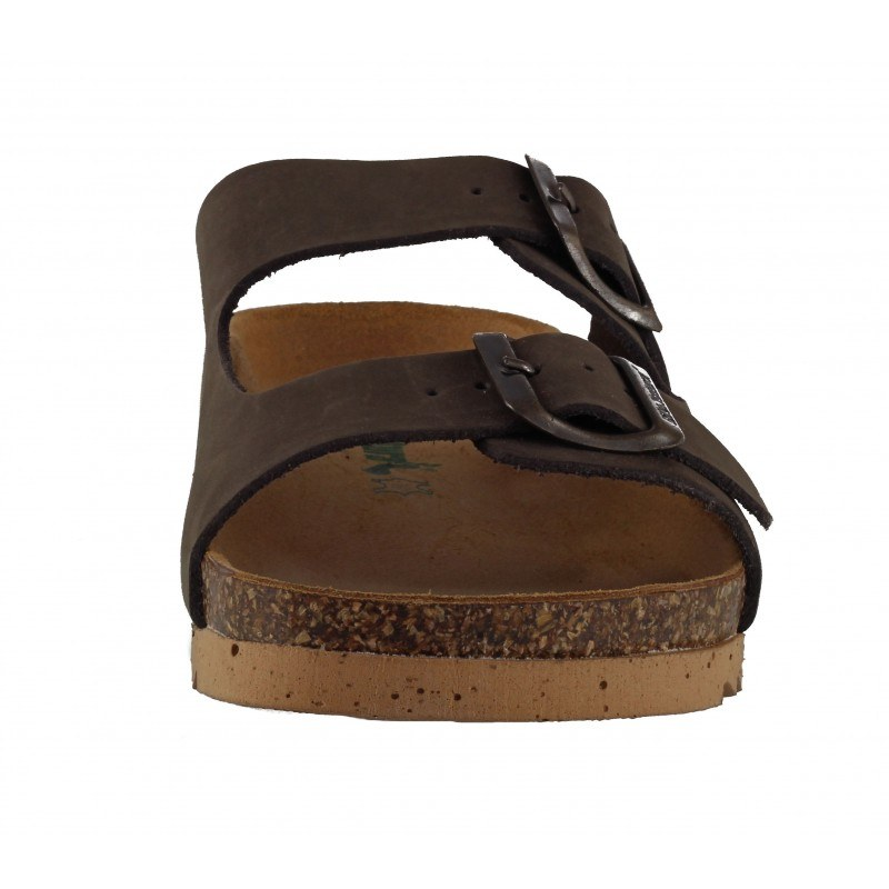 Дамски ортопедични чехли BioNatura естествена кожа сини корк