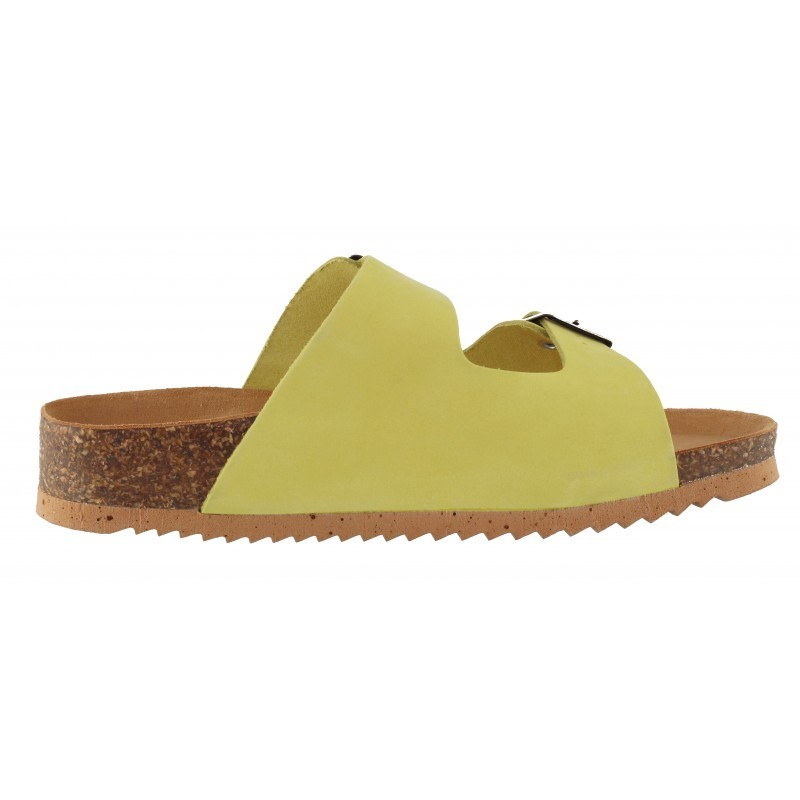 Дамски ортопедични чехли BioNatura естествена кожа киви корк
