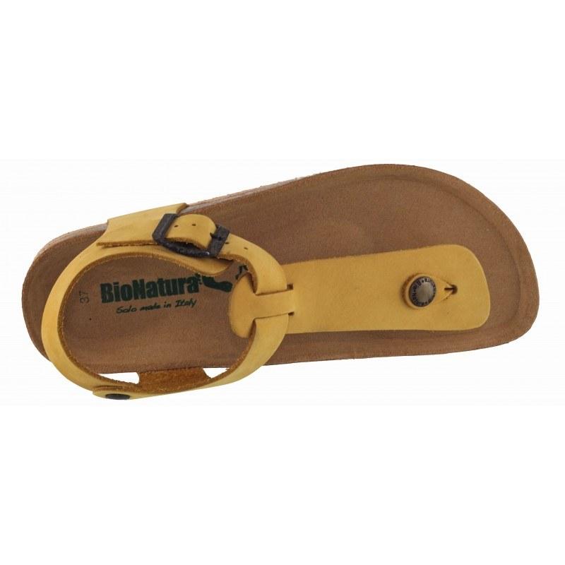 Дамски ортопедични сандали BioNatura естествена кожа жълти корк