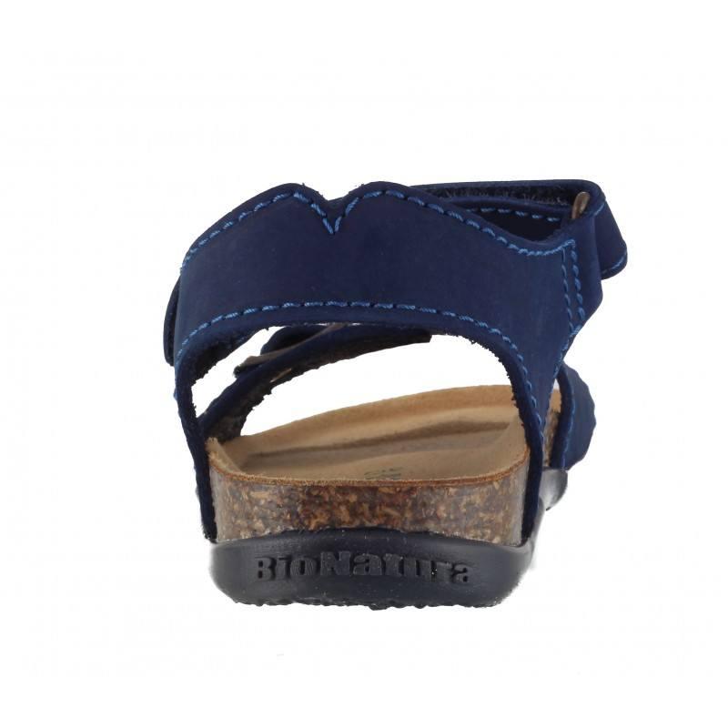 Детски ортопедични сандали за момче BioNatura сини естествена кожа