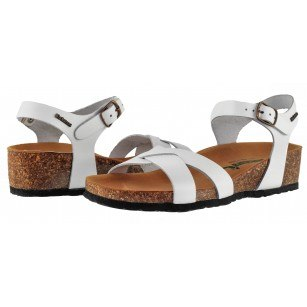 Дамски ортопедични сандали BioNatura естествена кожа бели корк