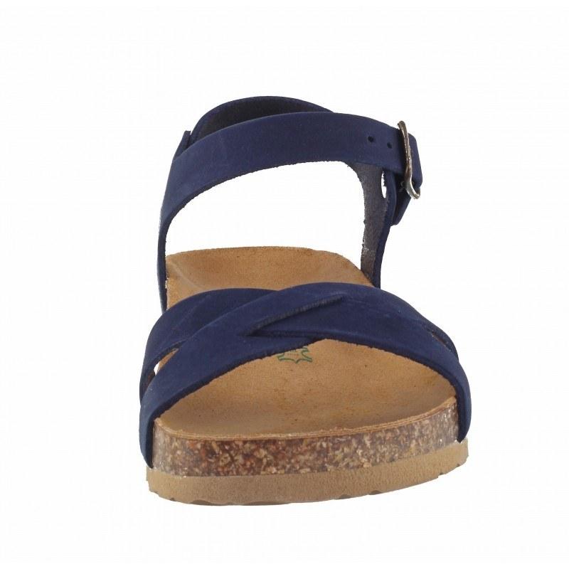 Дамски ортопедични сандали BioNatura естествена кожа сини корк