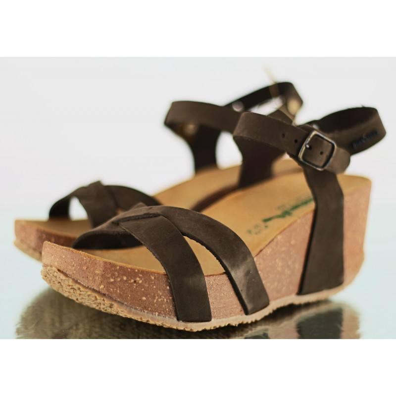 Дамски ортопедични сандали BioNatura естествена кожа кафяви корк