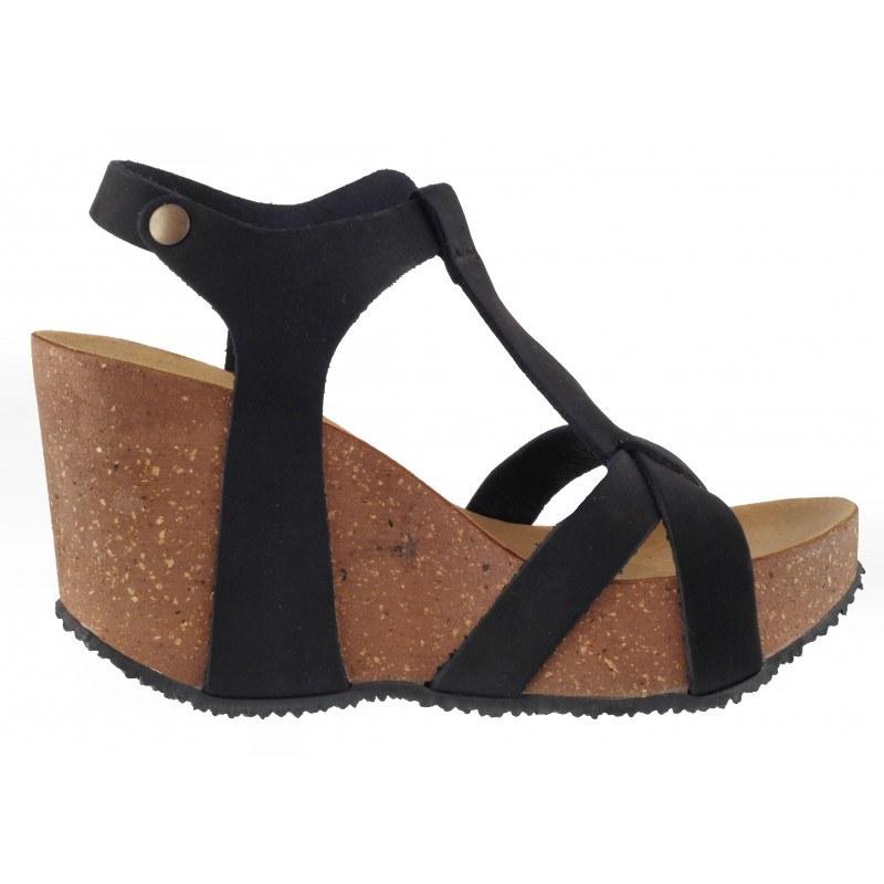 Дамски сандали BioNatura естествена кожа черни корк