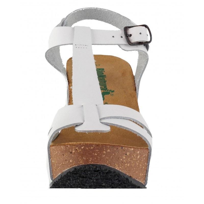 Дамски сандали BioNatura естествена кожа бели корк