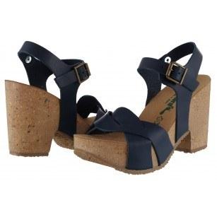Дамски сандали BioNatura естествена кожа сини корк