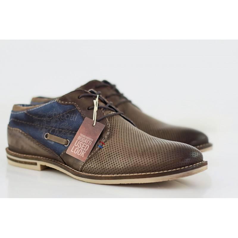Мъжки обувки от естествена кожа Bugatti кафяви/дънкови Fedele