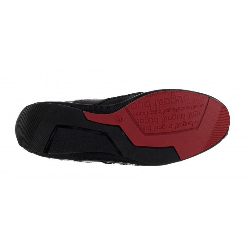 Мъжки спортно-елегантни обувки Bugatti® естествена кожа черни/червени Hettore