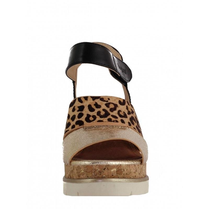 Дамски сандали на висока платформа Bugatti Aura черни/златисти