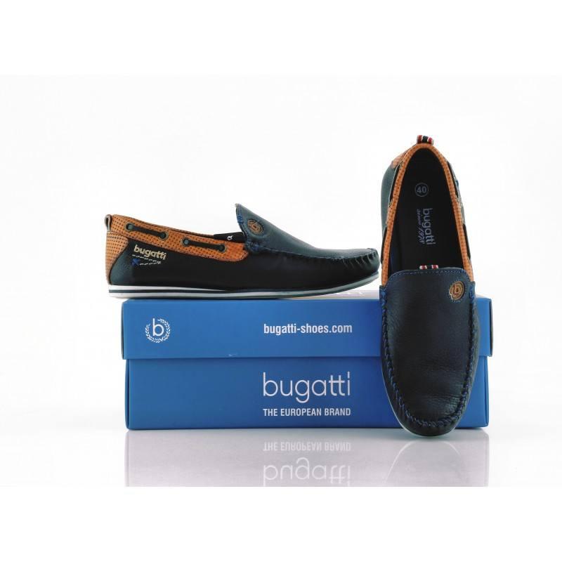 Мъжки мокасини от естествена кожа Bugatti сини Cherokee