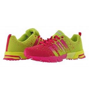 Дамски маратонки с връзки Bulldozer розови/жълти