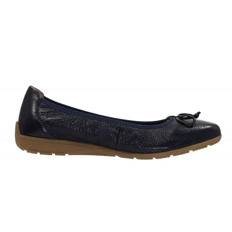 Дамски равни обувки от естествена кожа Caprice сини