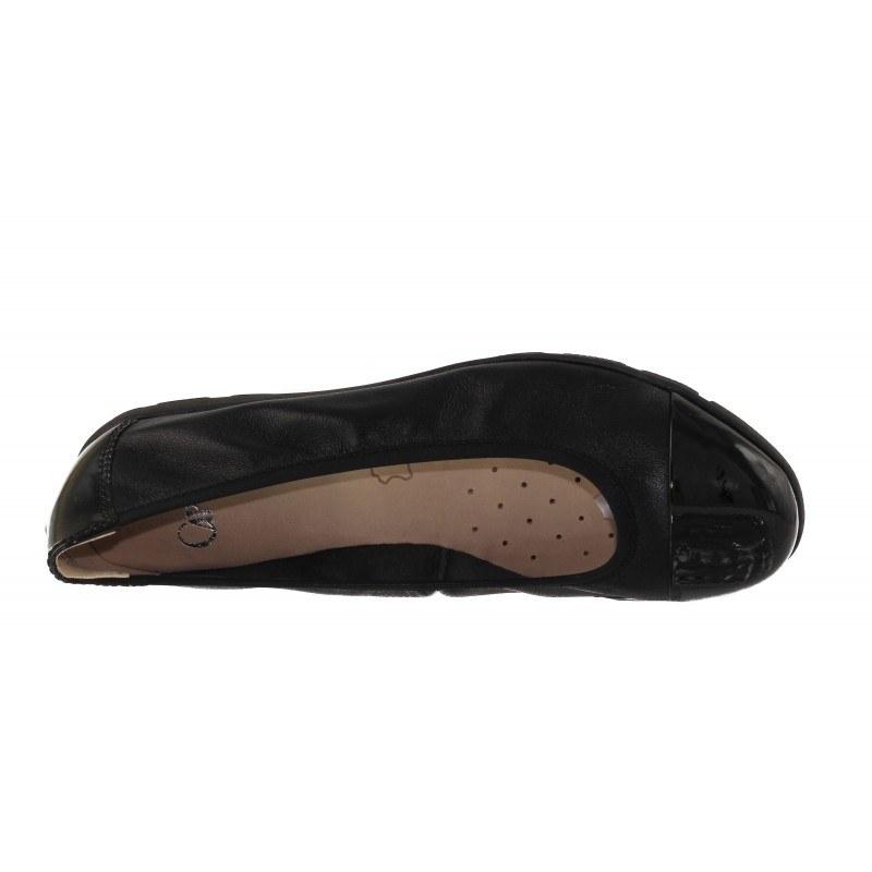 Дамски кожени равни обувки балерина Caprice черни