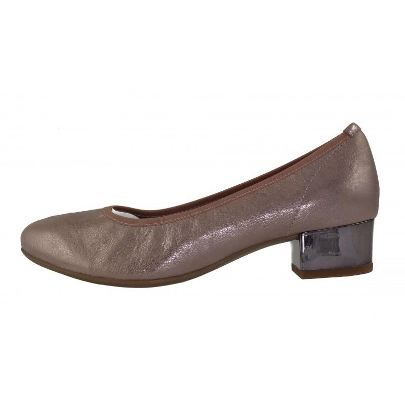 Дамски кожени обувки на ток Caprice розов металик H