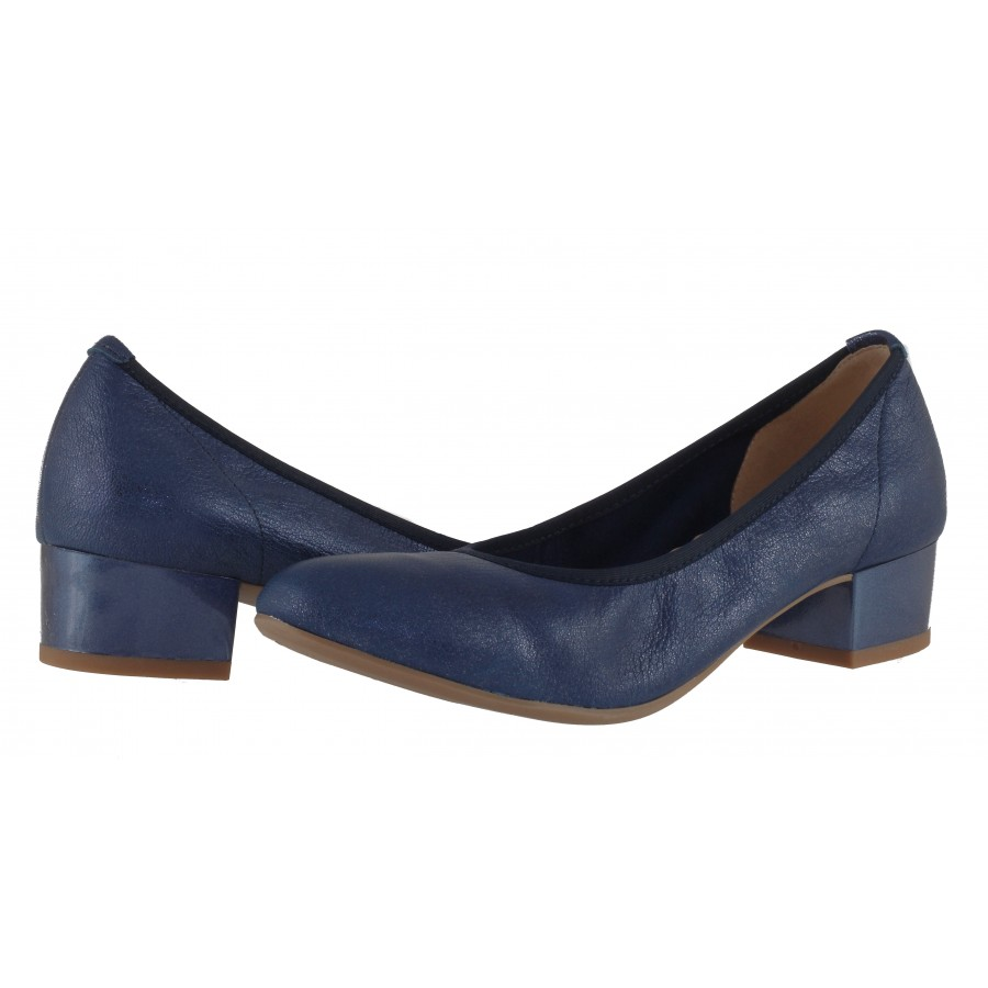 Дамски обувки на ток естествена кожа Caprice H сини