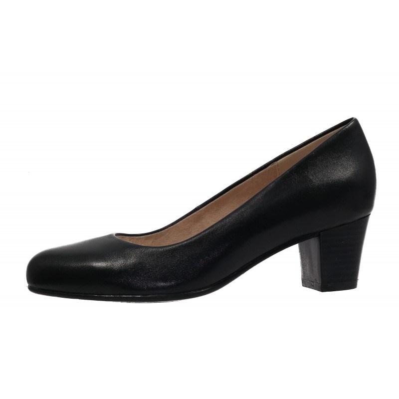 Дамски класически обувки на ток естествена кожа Caprice черни