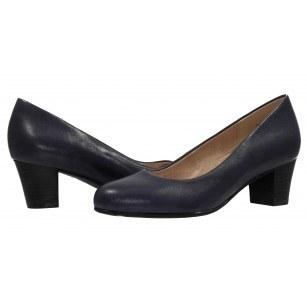 Дамски класически обувки на ток естествена кожа Caprice сини
