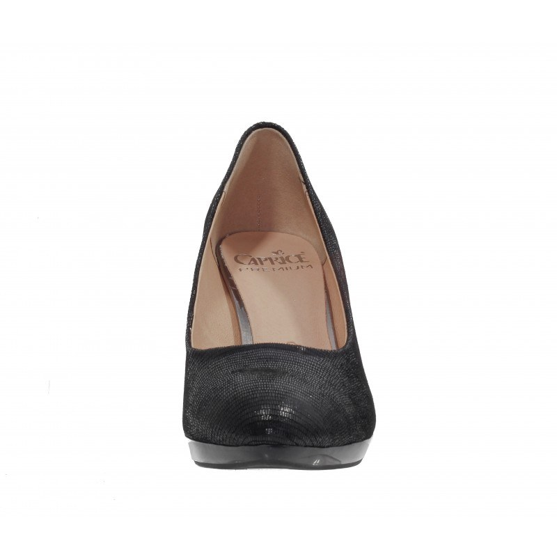 Елегантни дамски обувки на висок ток Caprice черен структур