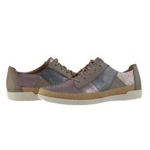 Дамски спортно-ежедневни обувки Caprice естествена кожа металик комби