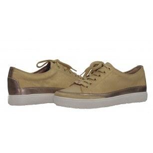 Дамски спортни обувки от естествена кожа Caprice жълти металик