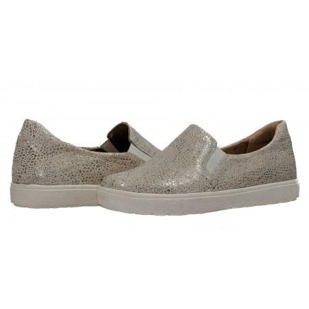 Дамски спортни обувки естествена кожа Caprice сребристи светли